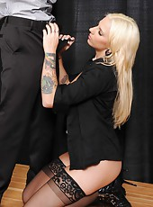 Astounding blonde with excellent-shaped big boobs Lylith Lavey fucked her manager