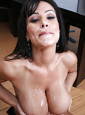 Arrogant brunette milf Lisa Ann seduces office worker and fucks him voluptuous