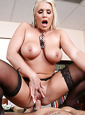 Extremely hot mature blonde Sadie Swede in the voluptuous fucking action
