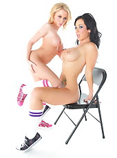 Brunette and blonde babes Jayden Jaymes and Madison Scott with gorgeous big tits