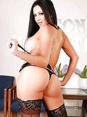 Brunette with excellent body named Audrey Bitoni willingly strips on the camera