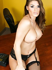 Enjoy curvy lines in gorgeous lingerie and high heels by amazing Madelyn Marie