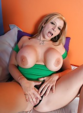 Miniature shaved pussy and provocative huge tits by hot milf Sara Jay