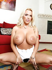 Extremely curvy lines with fascinating blonde milf Holly Halston in the strip action