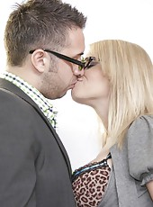 Cute blonde lady Madison James seduces her friend in the office