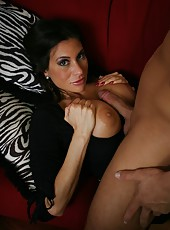 Nasty brunette milf Sheila Marie sucks her neighbor
