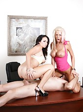 Awesome threesome action with horny lesbians named Holly West and Tanya James