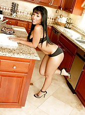 Awesome scene with an elegant brunette Elena Heiress in the kitchen