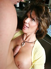 Horny mature Deauxma sucks a big cock and gets a cunnilingus