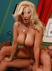 Crazy blonde slut Brittany Andrews opens her sexy mouth for a hot blowjob