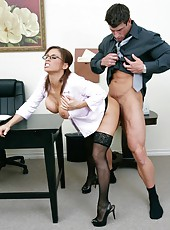 Hardcore fuck with a busty brunette named Devon Michaels at work
