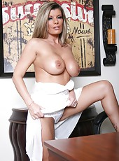 Busty milf Kristal Summers takes off her white dress and masturbates