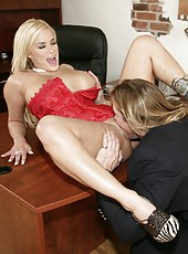 Passionate blonde angel Shyla Stylez gets a sperm on the sweet tits