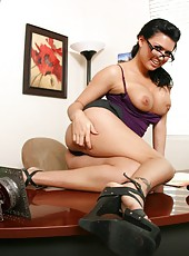 Naughty secretary Eva Angelina masturbates with her sexy fingers