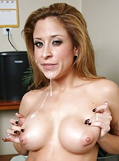 Amazing action in which a busty chick August sucks a strong cock