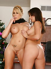 Gorgeous lesbians Brooke Haven and Penny Flame posing excitingly on the camera