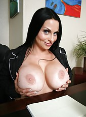 A pair of unforgettably giant boobs and hairy pussy by horny milf Harley Rain