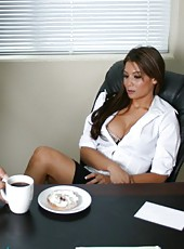 Great office fuck with amazing dark haired and busty milf named Ryder Skye