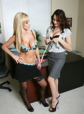 Brunette Kinzie Kenner and blonde Nikki Benz seducing their boss right in the office