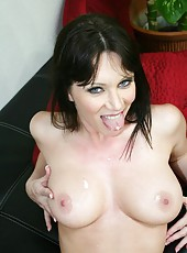Crazy hot brunette milf RayVeness gets naked on the camera and takes big cock
