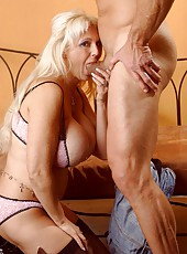 Extremely hot mature blonde with giant tits Kayla Cupcakes fucked great