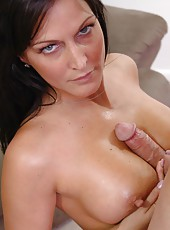 Hot black haired milf Jolee sucked between her tits, in her shaved pussy and wet mouth