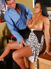 Hot brunette milf Kimberly Franklin making her work sweeter with hot orgasms