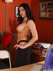 Black haired and huge breasted milf Olivia Olovely has also a powerful ass