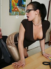 Hot secretary Tory Lane presents her sexy boss the tightest hole of her body