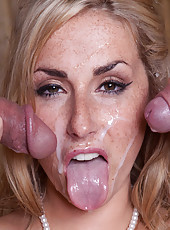 Hot blonde bombshell Paige Turnah knows how to satisfy two big cocks at the same time