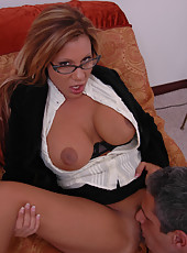 Demi Delia takes an intense facial on her sexy glasses after voluptuous sex