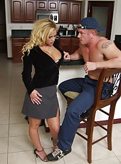 Busty blonde milf Shyla Stylez seduces neighbourhood guy that came to repair a water tap