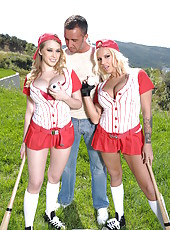 Kagney Linn Karter and Lylith Lavey getting dirty outside with a kinky stranger