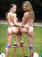 Capri Cavanni and Kayla Paige playing in rough games and fingering outdoors