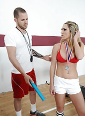 Cocky babe Amber Ashlee fucking like a naughty whore after a hard workout