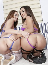 Two horrible lesbians Kelly Divine and Leone Dulce posing in hot stockings