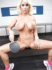 Sexy whore Holly Halston posing in hot panties and showing big tits