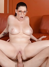Sexy hottie in glasses with big natural boobs Noelle Easton fucked by a huge cock