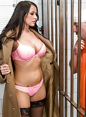Fantastic brunette milf with big boobs and sexy hips Alexis Grace fucks with hungry prisoner