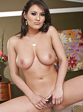 Naughty brunette milf Charley Chase masturbates with her gentle fingers