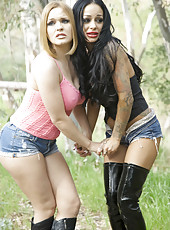 Hardcore outdoor threesome with Angelina Valentine and Krissy Lynn