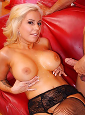 Exciting blonde cougar Mariah Madysinn got a big cock on the red sofa
