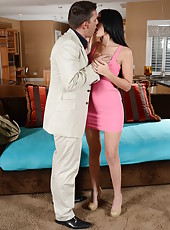 Black haired milf Amber Cox came in too sexy tight pink dress that makes everyone wild