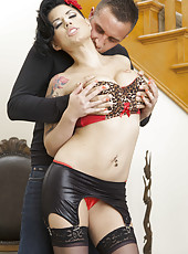 Black haired temptress Eva Angelina gets fucked in the ass and tastes cum