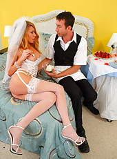 Horny bride with big boobs dressed in super sexy lingerie Brynn Tyler seduces lucky man