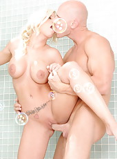 Incredibly beautiful blonde milf Britney Amber got a great fuck in the bathroom