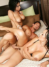 Smoking hot brunettes Mariah Milano and Ricki White got a dick in the threesome scene