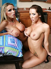 Dream milfs with fantastic busty bodies Jayden Jaymes and Nikki Benz share ex bf
