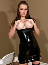 Busty dark haired bitch Jenna Presley takes off her sexy dress and masturbates