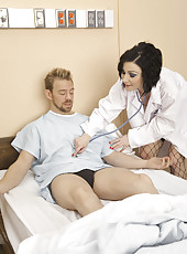 Skinny and tattooed brunette doctor Veruca James fucks like a whore with patient
